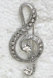 CLEAR RHINESTONE CRYSTAL LARGE MUSIC NOTE PIN BROOCH G18