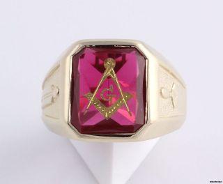 Blue Lodge Masonic Ring   14k Solid Yellow Gold Masons Band 12.3g
