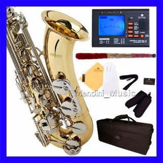 NEW STUDENT GOLD / NICKEL TENOR SAXOPHONE SAX+$39 TUNER