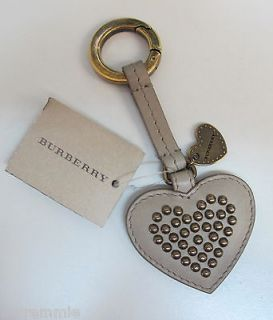 Burberry Tan Leather Heart Key Ring New With Tags