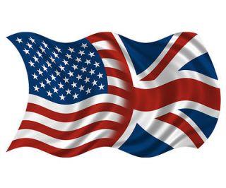 American British Waving Flag USA Britain Union Jack Car Vinyl Sticker