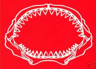 GREAT white shark jaw tooth decal fishing sticker teeth
