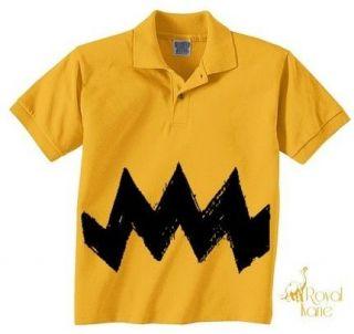 Charlie brown Black Zig Zag Boys Polo Shirt Halloween Costume Childs