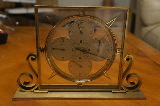 Remembrance 8 Days Clock Swiss 1940s Vintage 4 times Zone Desk Clock