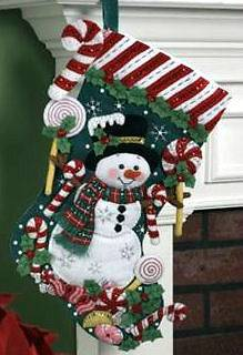 Bucilla CANDY CANE SNOWMAN Felt Christmas Stocking Kit Factory