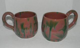 Signed North Carolina Cole Pink & Green Coffee Mugs Art Pottery (P