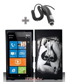 SKULL PROTECTIVE COVER HARD SKIN CASE+CAR CHARGER for NOKIA LUMIA 900