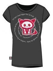 Skelanimals Kit Cat Word Spiral Baby Doll T Shirt Black