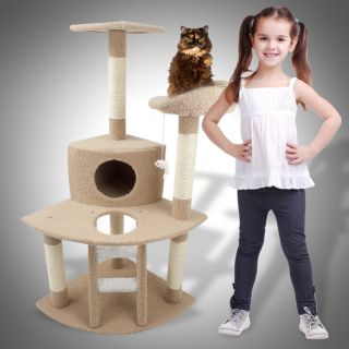 Cat Tree 47 Kitten Condo Furniture Scratching Post Pet House Brown