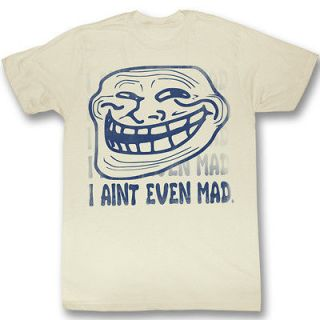 You Mad U I Aint Even Mad Troll Face Funny Adult Vintage White T Shirt
