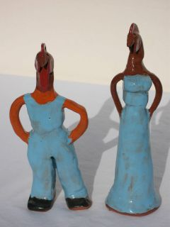 Southern Folk Art Pottery Chicken Couple by Georgia Potter Mary