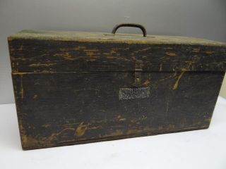 Used Broken Wood Wooden Carpenters Rustic Tool Box Carrying Case NR