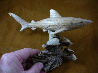 Mako shark love sharks ocean Chinaberry hibiscus WOOD carving figurine