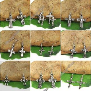 Lots 9 Pairs Tibetan silver Cross charms pendant earrings For Gift