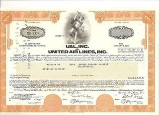 Airlines UAL stock bond certificate aviation 1970s aviation history