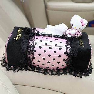 Hello Kitty Pink round dot Car Auto Tissue Box Holder Cover