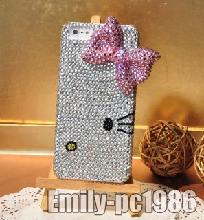 Handmade Hello Kitty Pink Bow Swarovski Element Crystal Cover Case For