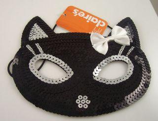 Cat black silver eye mask mardigras costume halloween Hello Kitty bow