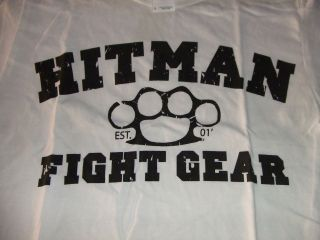 HITMAN FIGHT GEAR BRASS KNUCKLES WHITE T SHIRT BJJ FIGHT MMA VALE TUDO