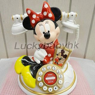 Disney Mickey Minnie Mouse Antique Home Phone Telephone Figure in box