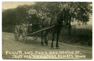 RP Post Card Flour & Feed Horse Drawn Wagon Ohio