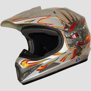 Off Road racing ATV Motocross Dirt Bike Helmet DOT 192 skull silver