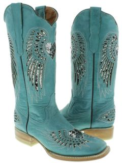 WOMENS LADIES TURQUOISE LEATHER SEQUINS SQUARE COWBOY BOOTS WESTERN