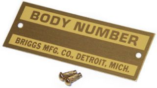 1928 31 FORD BRIGGS BODY NUMBER PLATE W/ RIVETHOT ROD RAT VTG STYLE