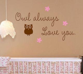 Owl always Love you Vinyl Wall Decal Lettering Nursery