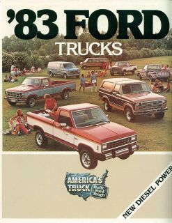 1983 Ford Trucks Full Line Brochure  Pickup,Ranger,Bronco,Club Wagon