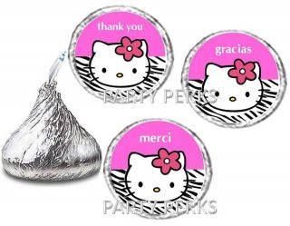 Hot Pink Zebra Print Hello Kitty Birthday Party Candy Wrappers Favors