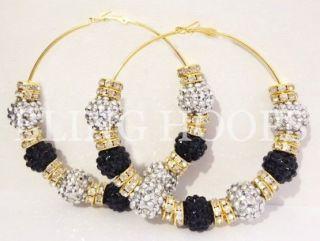 Hoops Black Silver Gold Rhinestone Earrings Basketball Wives Poparazzi