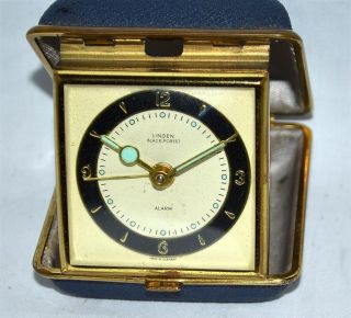 Vintage Linden Black Forest Wind Up Travel Alarm Clock Made in Germany