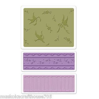 Sizzix Textured Impressions Embossing Folders 3PK   Birds & Lace Set