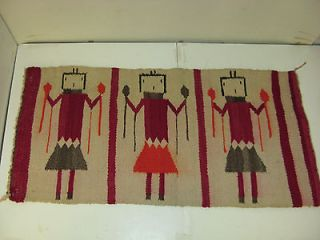 Early Native American Navajo Corn Maiden People Rug Yei Gallup Throw