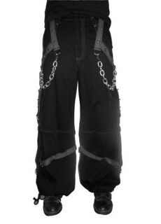 TRIPP NYC MENS BLACK&GRAY PIERCING CYBER GOTH INDUSTRIAL CARGO PANTS
