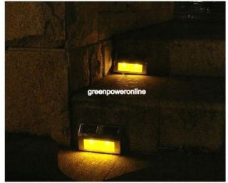 garden yard pathway walkway stair step deck YELLOW LED light lamp