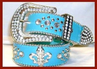 WESTERN RHINESTONE FLEUR LIS LEATHER BELT AQUA BLUE M