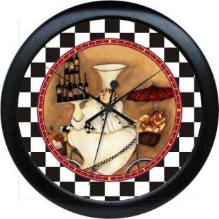 Fat French Chef Wine Wall Clock Kitchen Bistro Decor