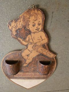 VINTAGE CARVED BURNED WOOD MATCHMAKER CHERUB ANGEL MATCH HOLDER W