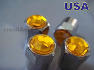 Crystal*YELLOW*Diamond Tire/Wheel stem air valve CAPS Covers