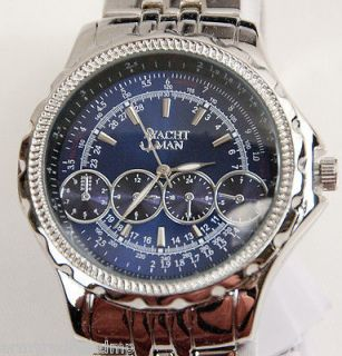 NEW YACHT MAN SILVER BLUE LEONARDO COLLECTION STAINLESS STEEL MENS