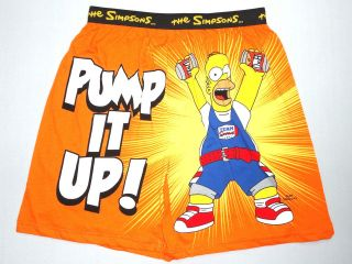 SIMPSONS HOMER Pump It Up Beer Workout Mens Cotton Boxer Shorts Size