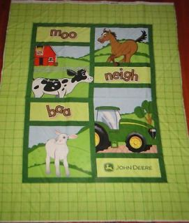John Deere Farm Tractor Animal Quilt Panel Fabric GR 1 Yd L