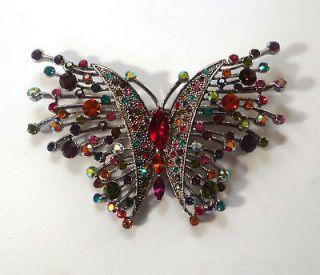 Butler and Wilson Multi Crystal Butterfly Spray Brooch NEW