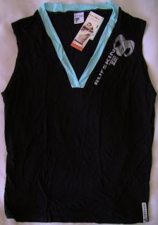 MENS RUFSKIN DENIM BLACK CLINT SLEEVELESS V NECK T SHIRT