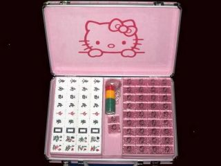 2012 Gift Sanrio Hello KITTY Large Size Mahjong Game Set Mah Jong NEW