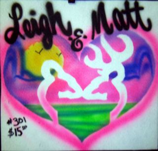 SHIRT AIRBRUSH PERSONALIZED DOUBLE DEER BEACH HEART #301