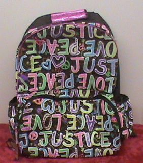 NWT JUSTICE BROWN & NEON MULTI COLOR PEACE LOVE BACKPACK BOOKBAG BACK