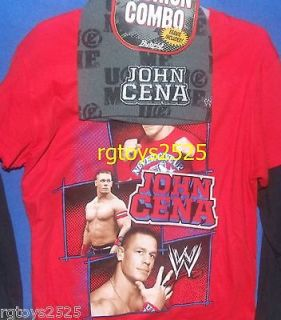 WWE John Cena Long Sleeve T Shirt Size 4 5 XS Childs New w Beanie Hat